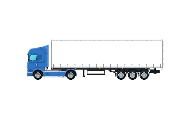 Commerciële vrachtwagen geïsoleerd pictogram Premium Vector