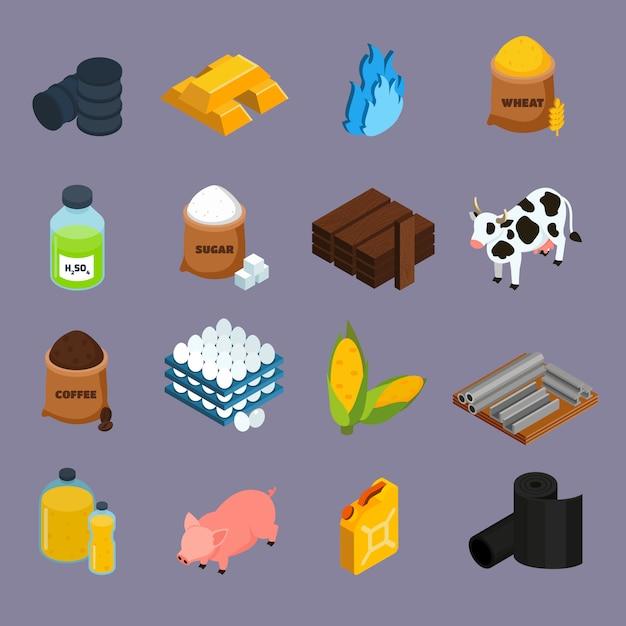 Commodity icons set Gratis Vector