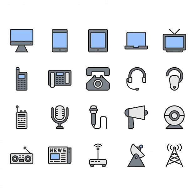 Communicatie apparaat icon set Premium Vector