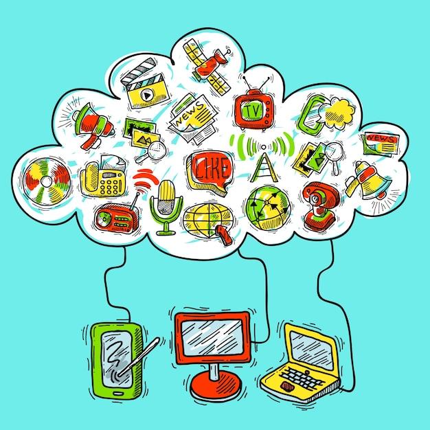Communicatie conceptenschets Gratis Vector