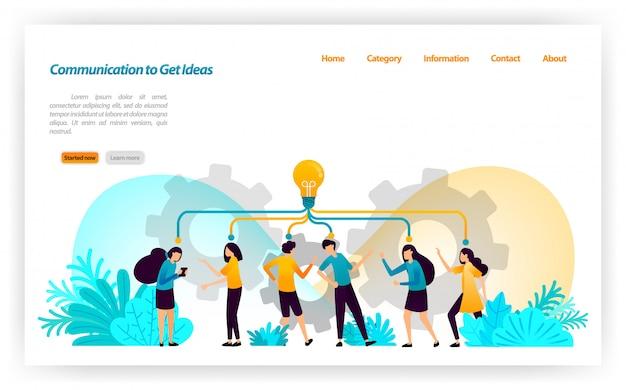 Communicatie, discussie, spreken en dialoog om ideeën en inspiratie op te doen bij het beheer van concepten en strategieën. bestemmingspagina websjabloon Premium Vector