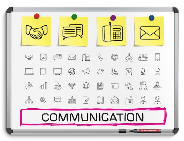 Communicatie hand tekenen lijn pictogrammen. doodle pictogram set, schets teken illustratie op wit marker bord met papieren stickers, business, sociale media Premium Vector