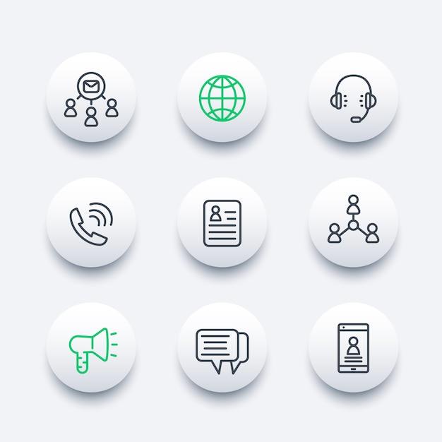 Communicatie, media en sociale lijn pictogrammen instellen Premium Vector
