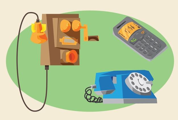Communicatie objecten voor ontwerp. vector illustraties Premium Vector