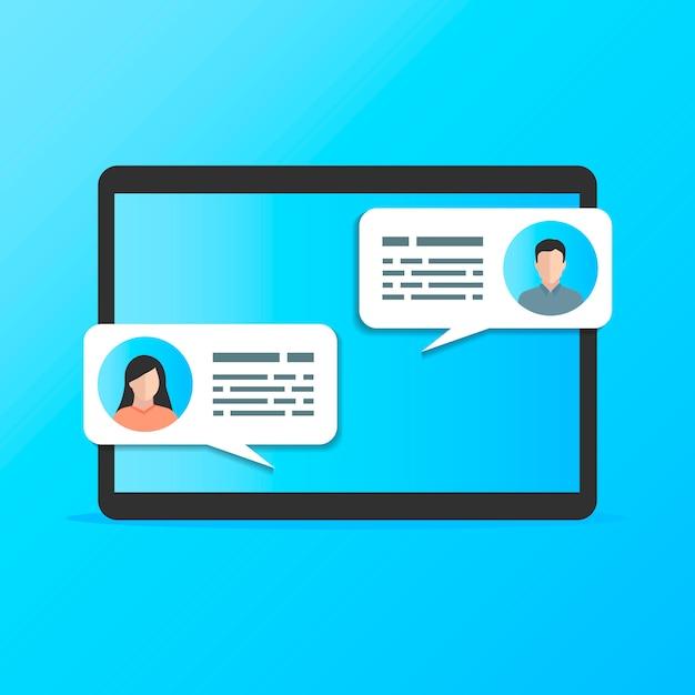 Communicatie tussen twee mensen op een blauwe afbeeldingstablet. Premium Vector
