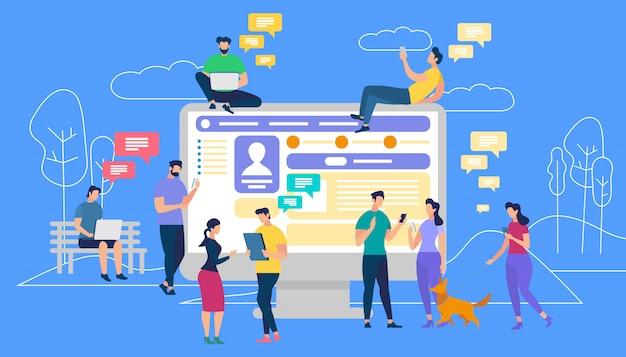 Communicatie via internet, sociale netwerken Premium Vector
