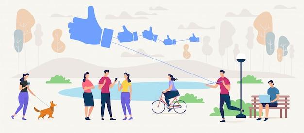 Communiceren en vinden van nieuwe vrienden in sociaal netwerkconcept Premium Vector