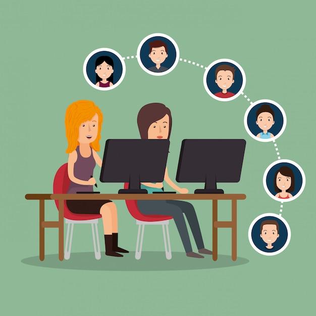 Community sociale media mensen Gratis Vector
