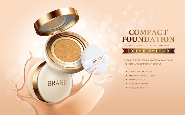 Compacte stichtingsadvertenties, aantrekkelijk make-up essentieel product met textuur geïsoleerde 3d illustratie Premium Vector