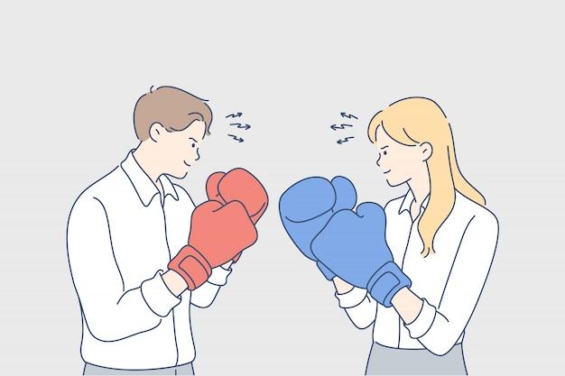 Competitie, boksen, uitdaging, vechten, rivaliteit, bedrijfsconcept Premium Vector