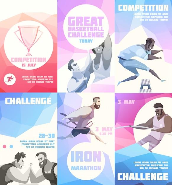 Competitie flyer set van zes verticale posters met cartoon sportman karakters Gratis Vector