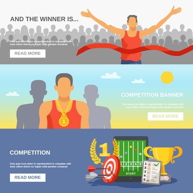 Competitie horizontale banners Gratis Vector
