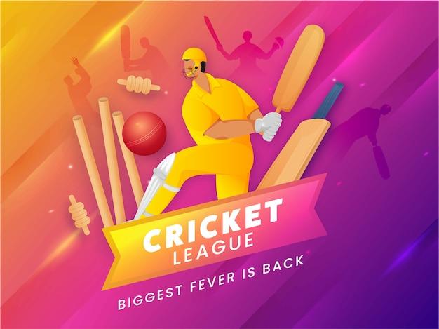 Competitieve teamspeler in pose met rode bal hit wickets op roze en gele gradiëntlichteffectachtergrond voor cricket league biggest fever is back. Premium Vector