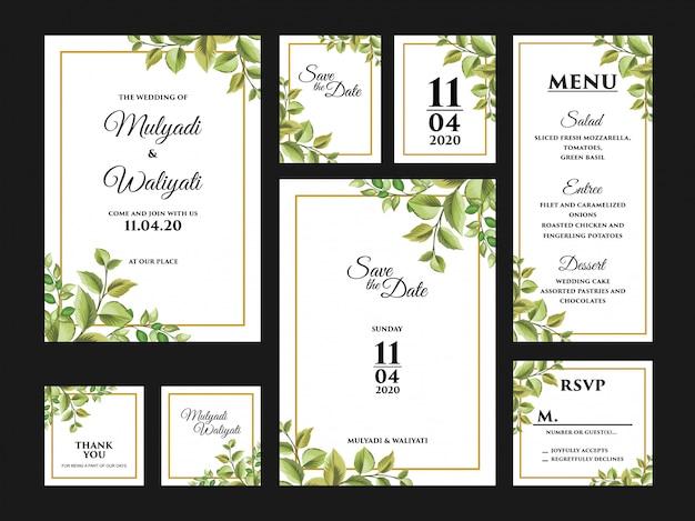 Complete bloemen bruiloft uitnodigingskaart ontwerpsjabloon set Premium Vector