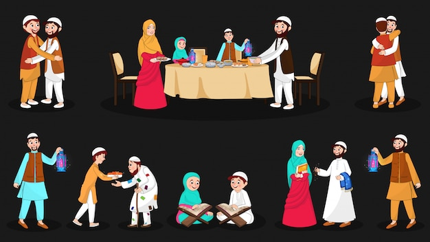 Complete set gelukkige moslimpersonages tijdens de festival gelegenheid Premium Vector