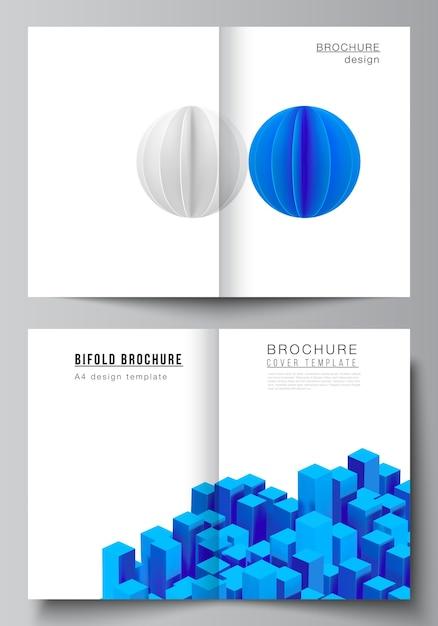 Compositie met dynamische realistische geometrische blauwe vormen in beweging. Premium Vector