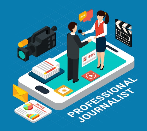 Compositie met pictogrammen en smartphone met interview onderwerp en verslaggever menselijke personages Gratis Vector