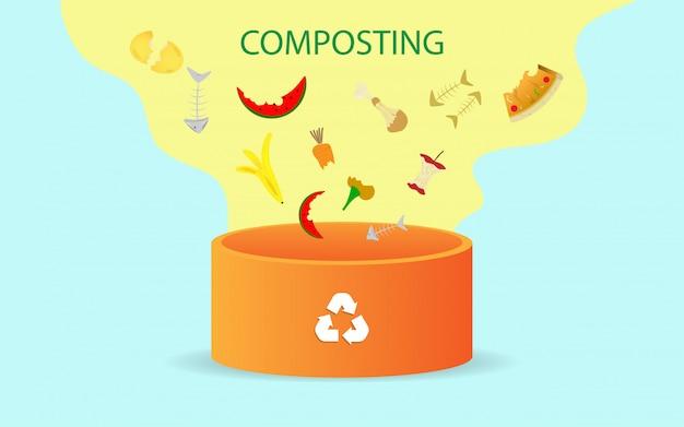 Compostering illustratie concept Premium Vector