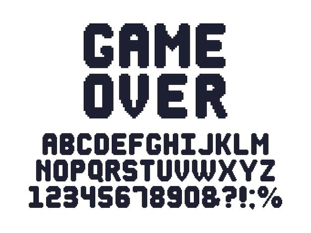 Computer 8 bit spellettertype. retro videogames pixel alfabet, 80s gaming typografie design en pixels letters ingesteld Premium Vector