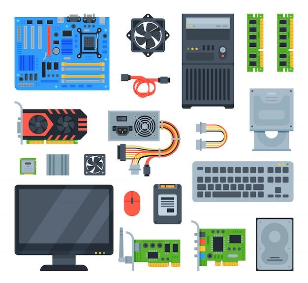 Computer accessoires pc-apparatuur moederbord geheugen en toetsenbord illustratie computing set geïsoleerd Premium Vector