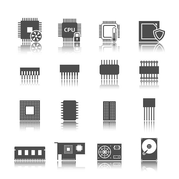 Computer circuit pictogrammen instellen Gratis Vector