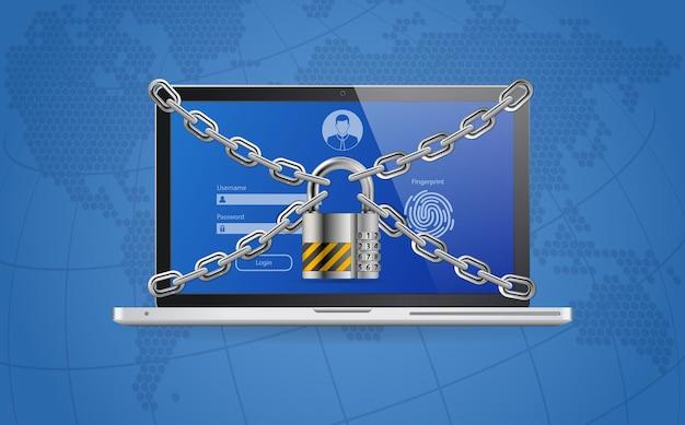 Computer cyber internet en persoonlijke gegevensbeveiliging bescherming webbanner. Premium Vector