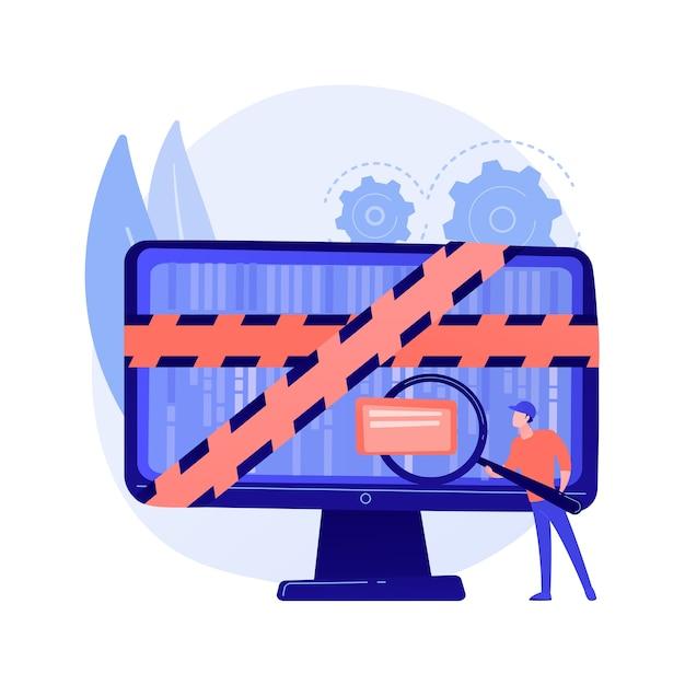 Computer forensische wetenschap. digitale bewijsanalyse, onderzoek naar cybercriminaliteit, gegevensherstel. cybersecurity-expert die frauduleuze activiteiten identificeert. Gratis Vector