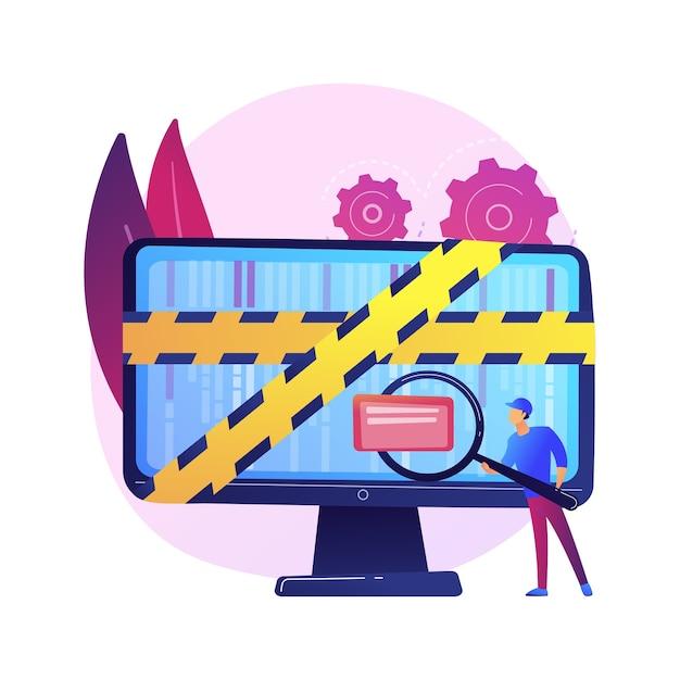 Computer forensische wetenschap. digitale bewijsanalyse, onderzoek naar cybercriminaliteit, gegevensherstel. cybersecurity-expert die frauduleuze activiteiten identificeert Gratis Vector