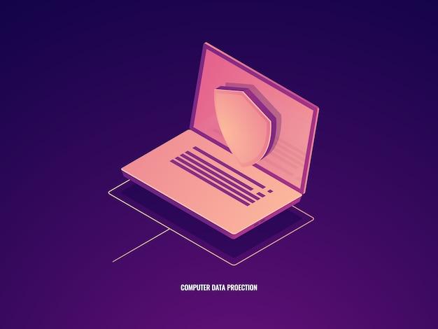 Computer gegevensbescherming, laptop met schild, gegevensveiligheid isometrisch pictogram Gratis Vector