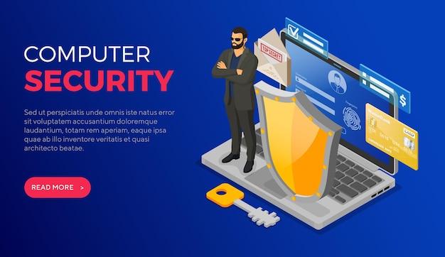 Computer internet persoonlijke gegevensbeveiliging bescherming Premium Vector