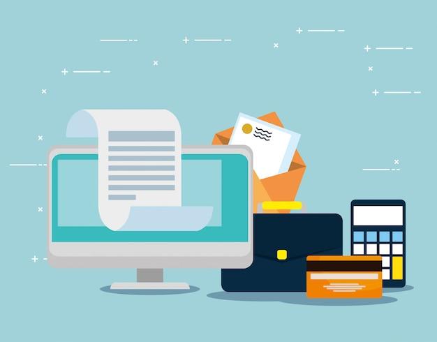 Computer met creditcard en briefbericht Gratis Vector