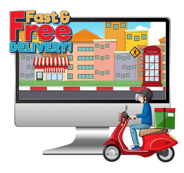 Computer met fietsman of koerier en snel en gratis bezorglogo Gratis Vector