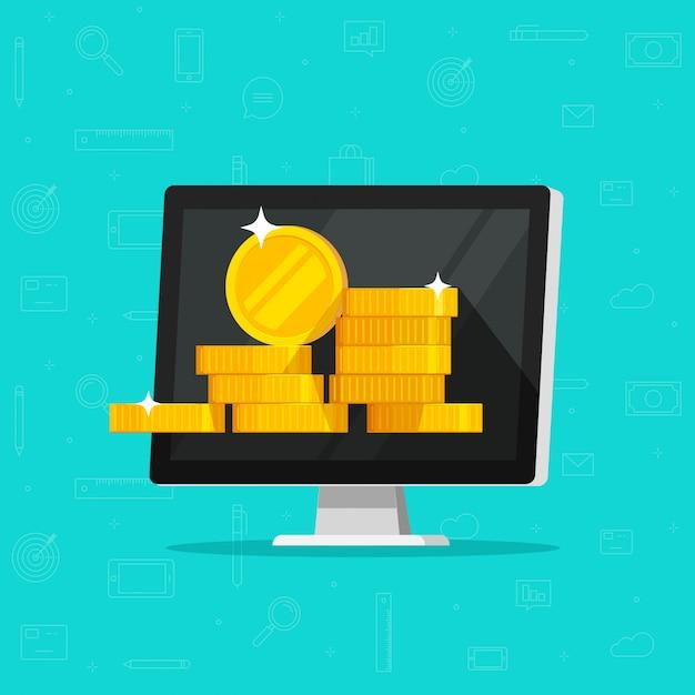 Computer met geld of internet inkomsten illustratie platte cartoon Premium Vector