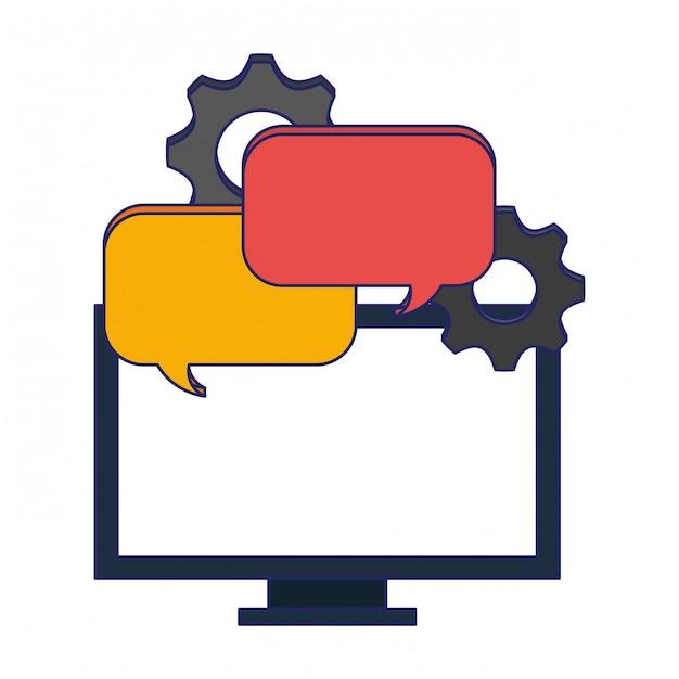 Computer met praatjebellen en versnellingen Premium Vector