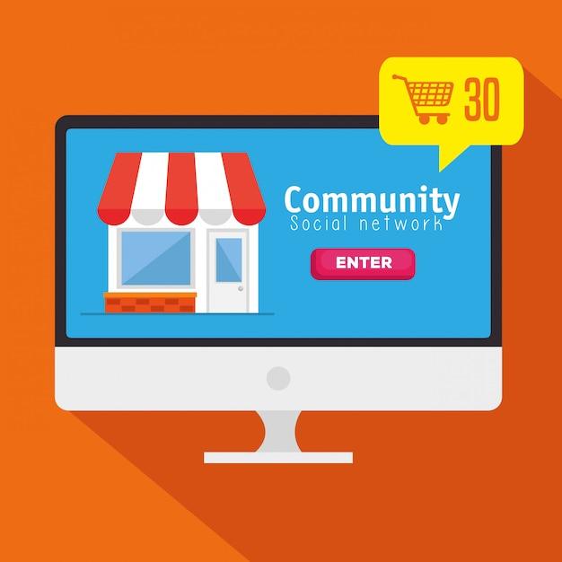 Computer met sociale gemeenschap netwerkbericht Gratis Vector