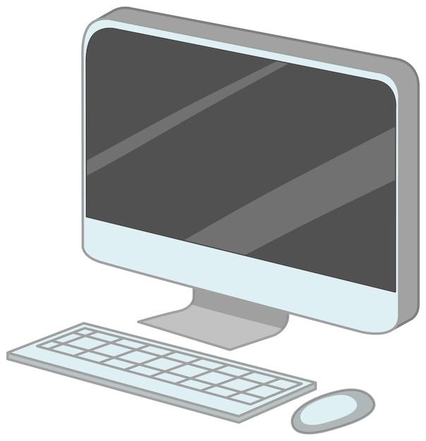 Computer met toetsenbord en muis cartoon stijl geïsoleerd Gratis Vector