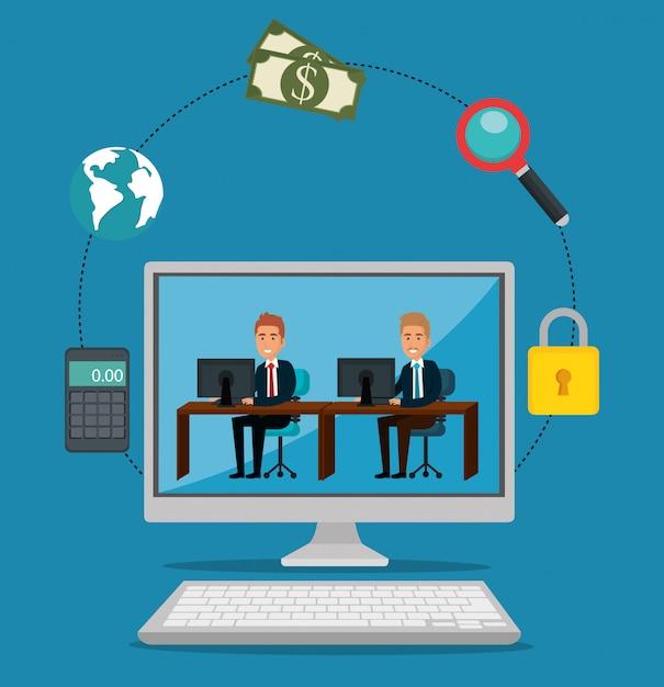 Computer ondernemers met e-mail marketing pictogrammen Gratis Vector