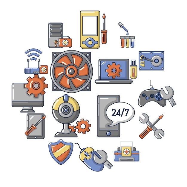 Computer reparatie service iconen set, cartoon stijl Premium Vector