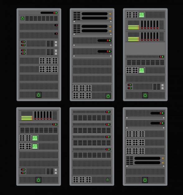 Computer voor een cryptoserver Premium Vector