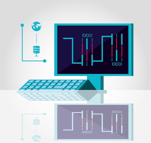 Computerbureau met datacenter-service Premium Vector