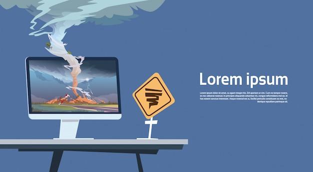 Computermonitor met tornado imade en orkaan waarschuwing verkeersbord landschap van storm waterspout in platteland natuurramp concept Premium Vector