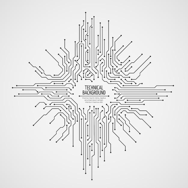 Computermotherboard vectorachtergrond met kringsraads elektronische elementen Premium Vector