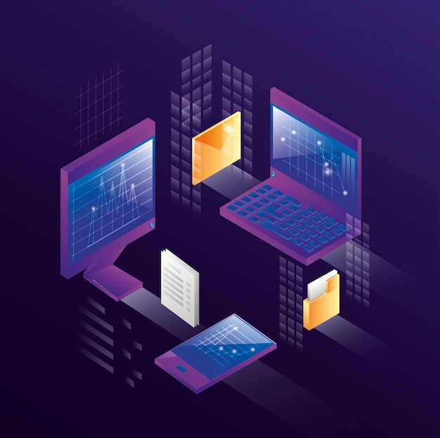 Computers met datacenterpictogrammen Premium Vector