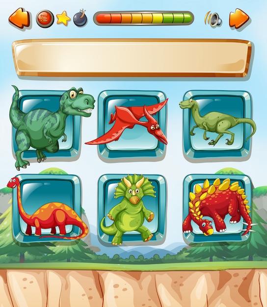 Computerspel sjabloon met dinosaurussen Gratis Vector