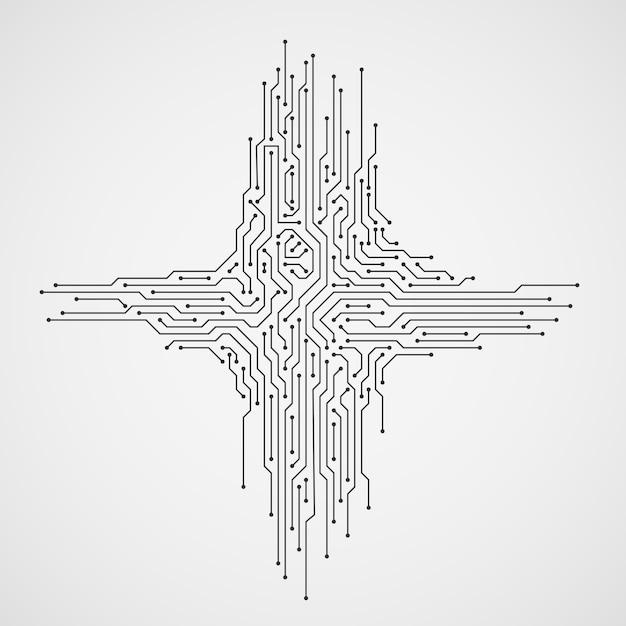 Computertechnologie abstracte achtergrond met kringsraad Premium Vector