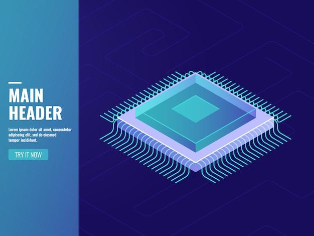 Computertechnologie, computerprocessoreenheid, cpu, gegevensverwerking, serverruimte Gratis Vector