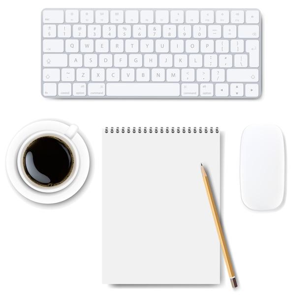 Computertoetsenbord dat op witte achtergrond wordt geplaatst Premium Vector