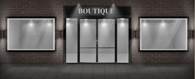 Concept achtergrond, boutique winkel gevel met uithangbord. Gratis Vector