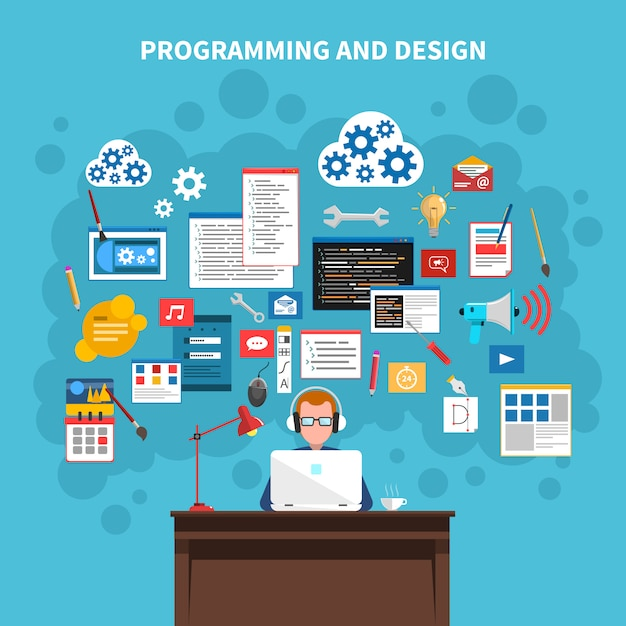 Concept afbeelding programmeren Gratis Vector