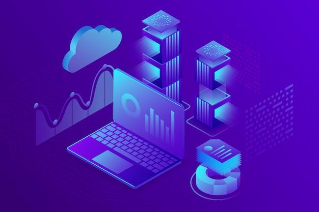 Concept bedrijfsanalyse, strategie van financiële gegevensgrafieken of diagrammen. isometrisch Premium Vector